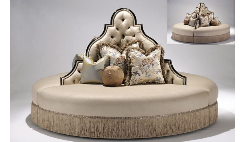 LUXURY BEDROOM FURNITURE Luxury furniture. Round sofa foyer or lobby seating.