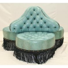 Luxury furniture. Three seat chair. Teal blue lizard