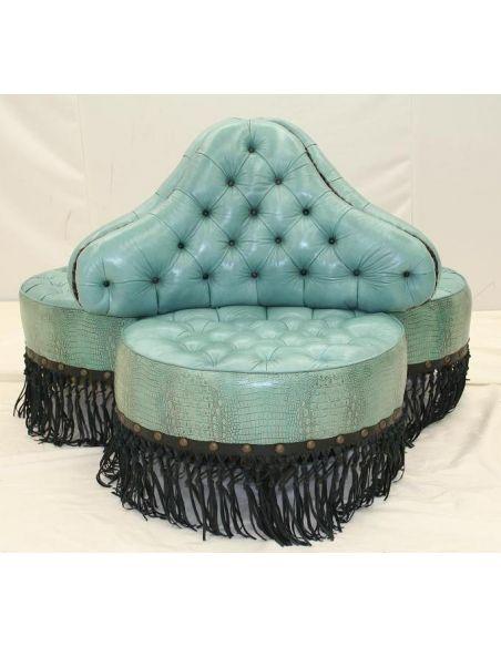 LUXURY BEDROOM FURNITURE Luxury furniture. Three seat chair. Teal blue lizard