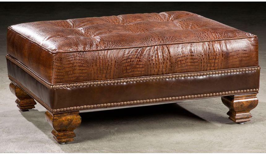 Luxury Leather & Upholstered Furniture Luxury leather ottoman. 661