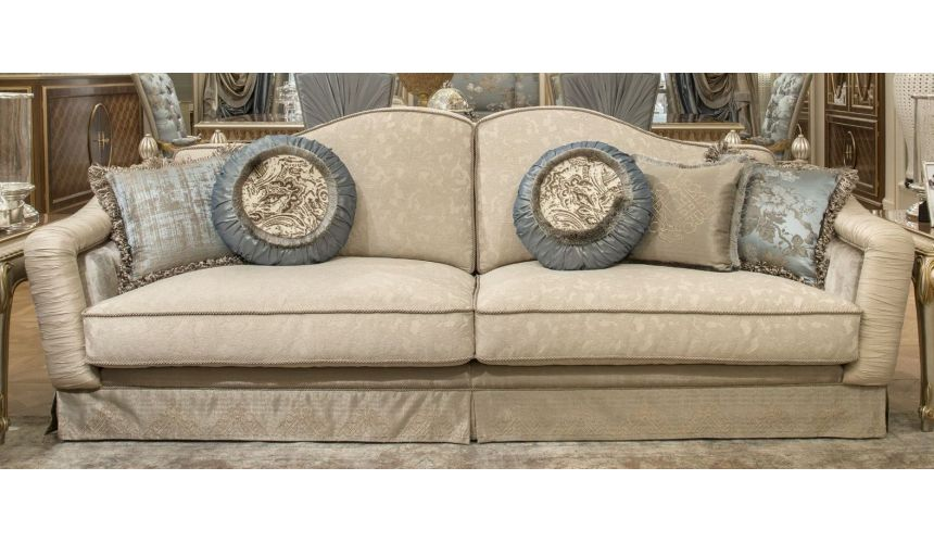 Luxury Leather & Upholstered Furniture Fine fabrics highlight this extraordinary hand made luxury sofa.