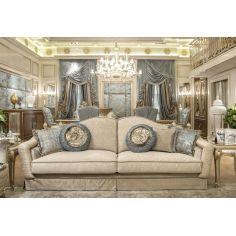 Fine fabrics highlight this extraordinary hand made luxury sofa.