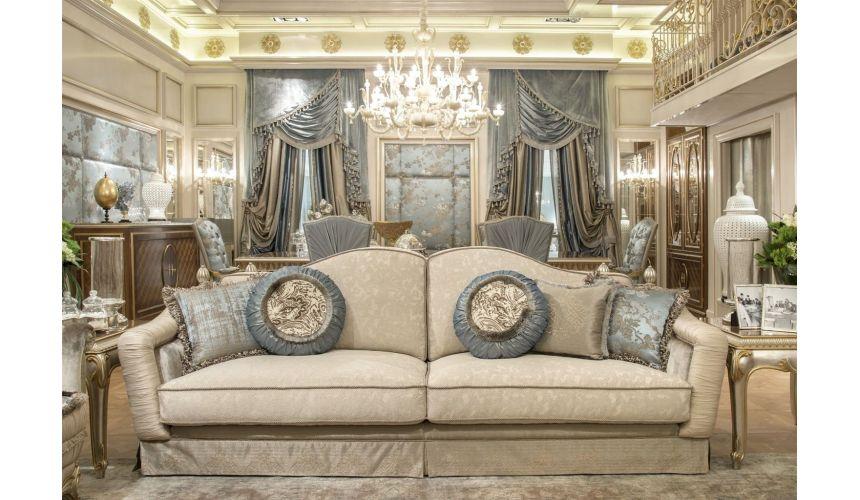 Luxury Leather & Upholstered Furniture Fine fabrics highlight this extraordinary hand made luxury sofa.