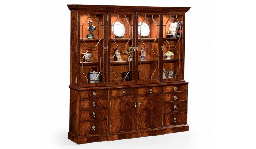 Bookcases Crotch Mahogany Bookcase Breakfront. Elegant Style