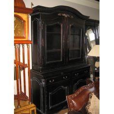 Solid Mahogany black rub-off French hutch cabinet