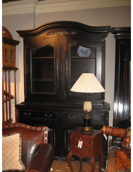 Breakfronts & China Cabinets Solid Mahogany black rub-off French hutch cabinet