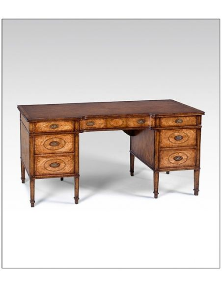 Executive Desks Marquetry desk finished and antiqued by hand in a variety of fruit wood and exotic veneers