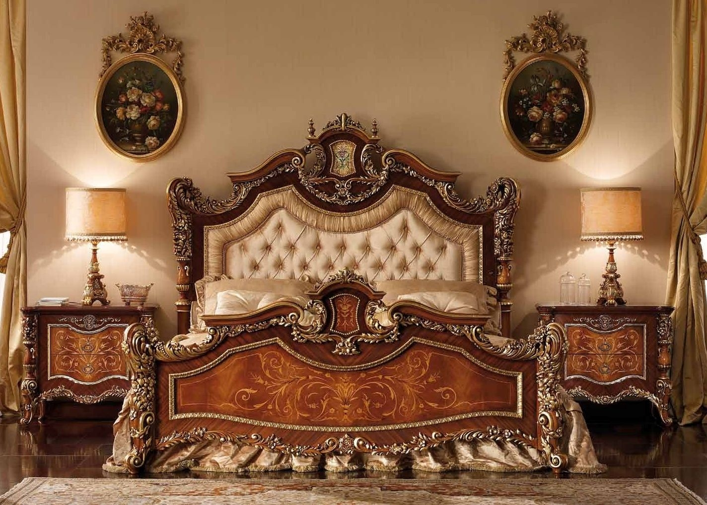 Master bed with tufted headboard. Furniture Masterpiece Collection.