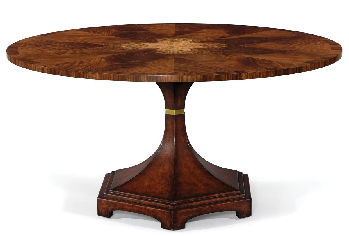 Modern classic round dining table exquisite marquetry for Modern round dining table