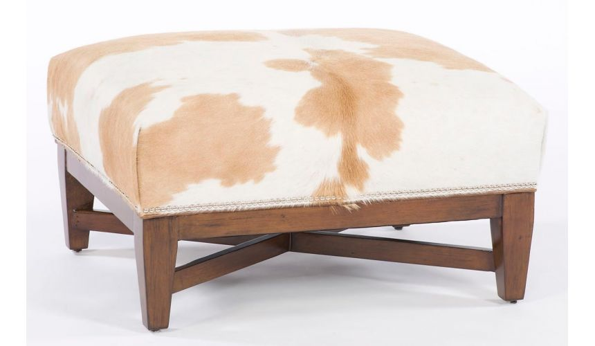Luxury Leather & Upholstered Furniture Modern hair on hide ottoman. 11