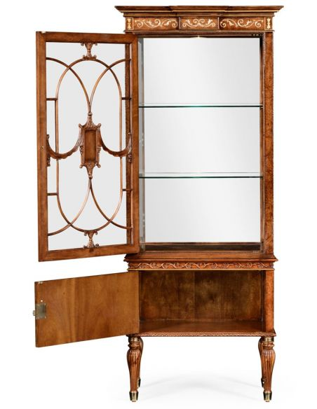 Breakfronts & China Cabinets Cabinet with Adjustable Glass in Slender Shape. 11