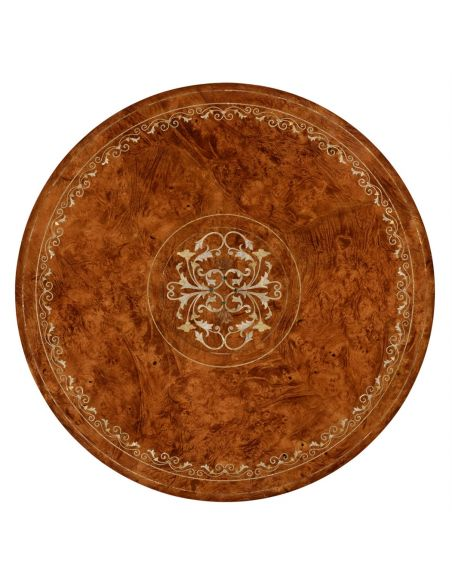 Dining Tables Mother of pearl inlay round center table-21