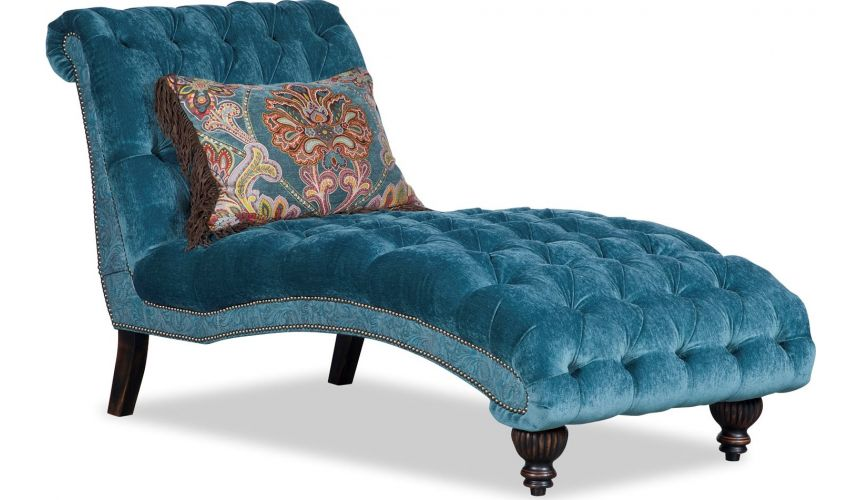 Luxury Leather & Upholstered Furniture Tufted Chaise Longue Chair Aqua Colored