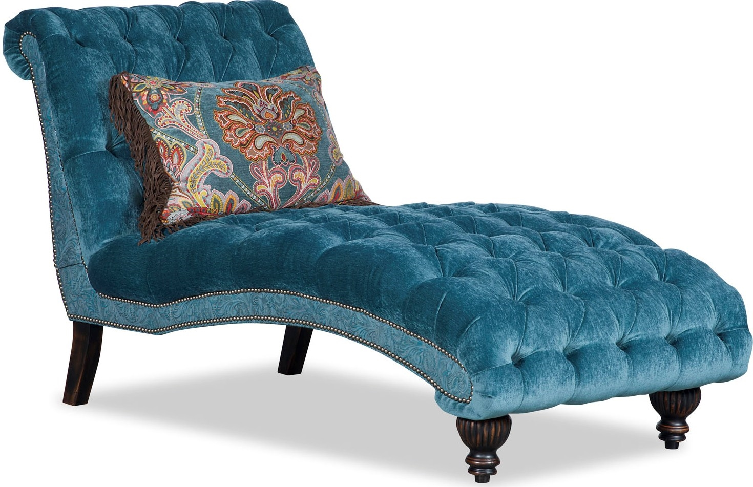 Tufted chaise longue chair aqua colored for Chaise coloree