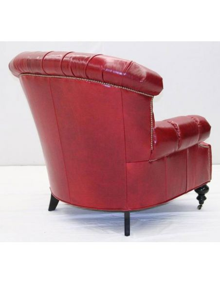 Luxury Leather & Upholstered Furniture American Made Red Leather Chair-40
