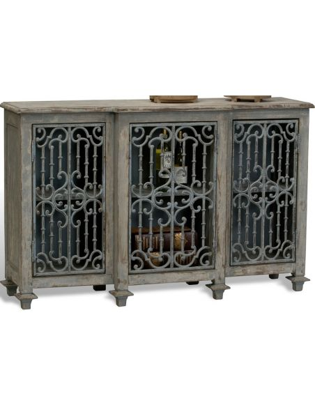Breakfronts & China Cabinets Wood-Iron Grill Cabinet