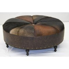 American Made Round Leather Sofa Furniture-85