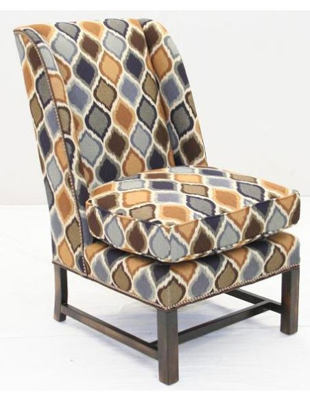 Upholstered Leather and Fabric Sofa Chair-66