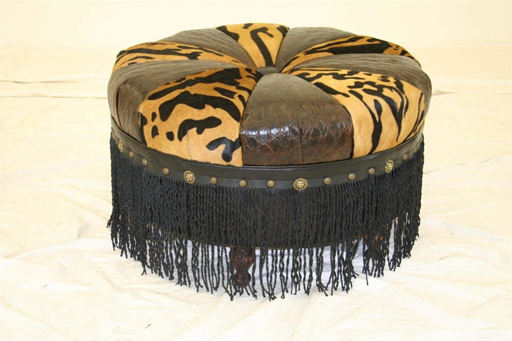 Luxury Leather U0026 Upholstered Furniture Crazy Wild One Round Ottoman. Tiger