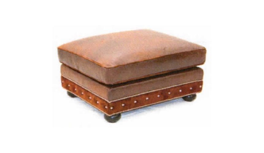 Luxury Leather & Upholstered Furniture American Made Square Leather Ottoman-60