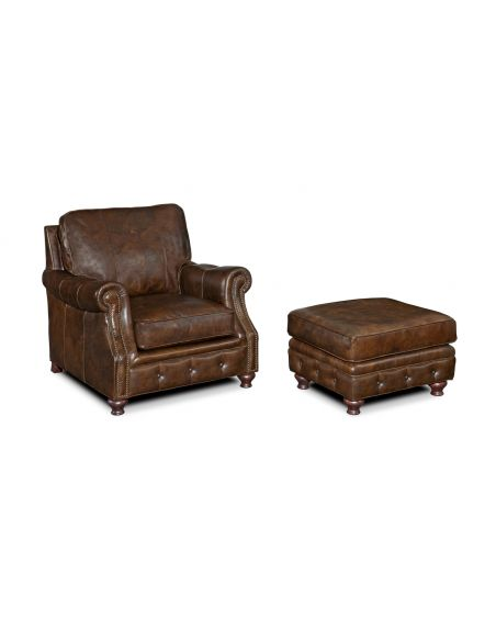 Luxury Leather & Upholstered Furniture Old Dusty Boots Leather Chair And Ottoman