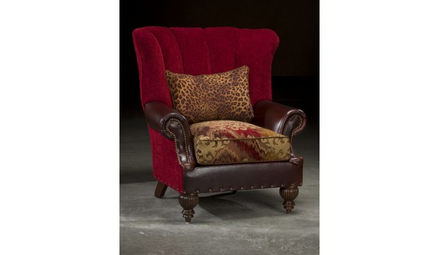 Luxury Leather & Upholstered Furniture Royalty Red High Back Chair, High End Luxury Furniture