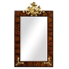 Antiqued Mahogany Rectangular Gilded Frame Mirror