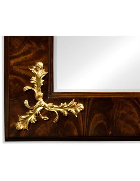 Antiqued Mahogany Rectangular Gilded Frame Mirror