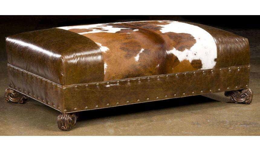 Luxury Leather & Upholstered Furniture Ottoman ottoman. Hair on hide furniture and furnishings. 668