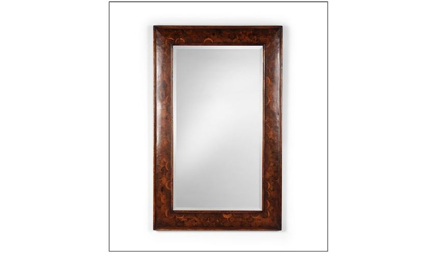 Mirrors, Screens, Decrative Pannels Rectangular mirror frame with oysters cut into fish scale pattern. Plain beveled mirror.