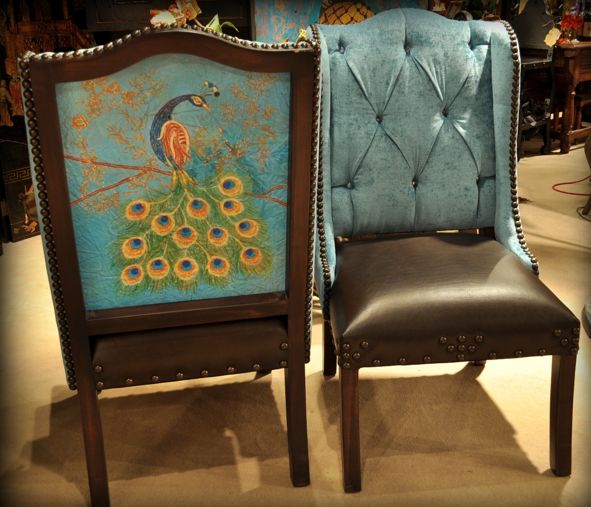 Dining Chairs Peacock Chair. Real Peacock Feathers Used In Design On The  Outback