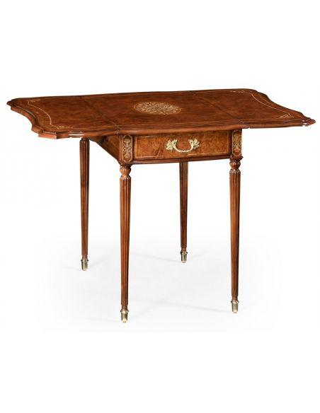 Square & Rectangular Side Tables Burr Veneered and Cross Banded Pembroke Table-14