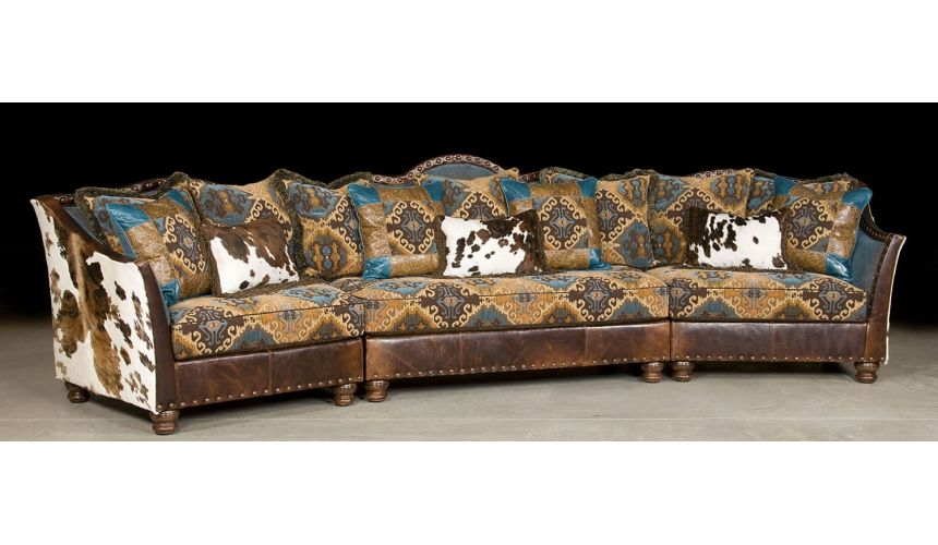 Luxury Leather & Upholstered Furniture Pony and teal blue sectional sofa, couch. Leather patchwork