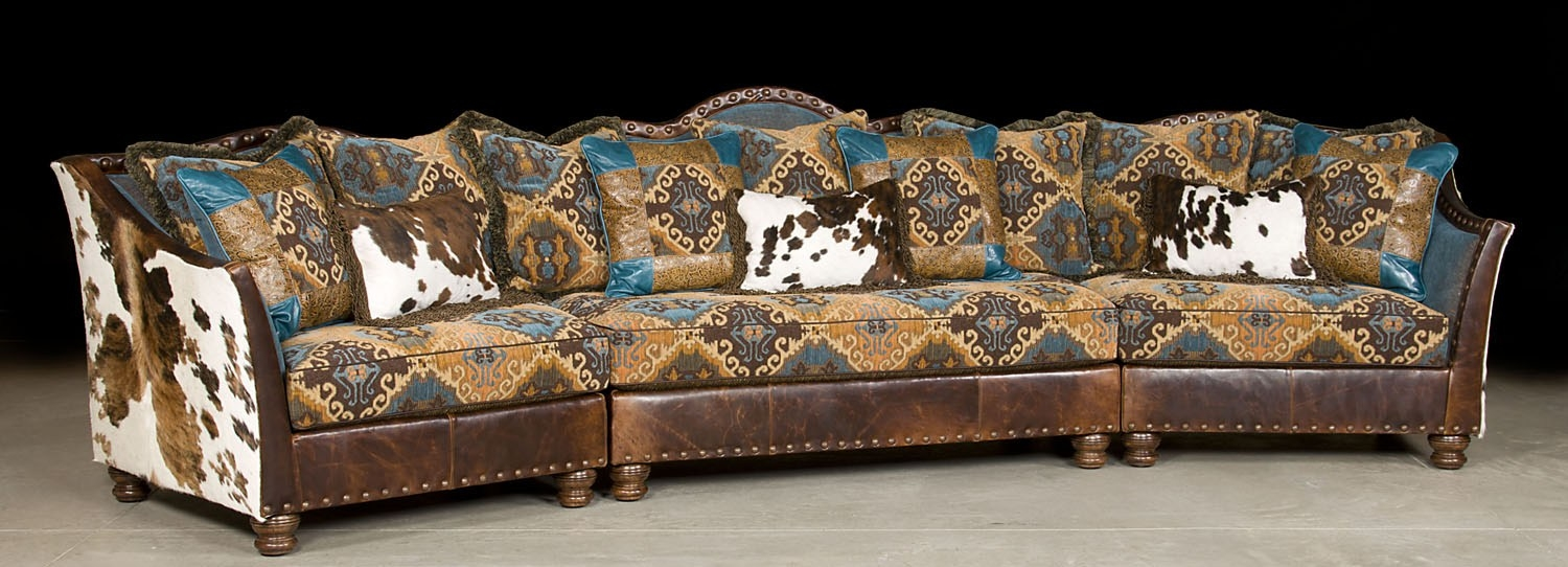 Pony And Teal Blue Sectional Sofa Couch Leather Patchwork