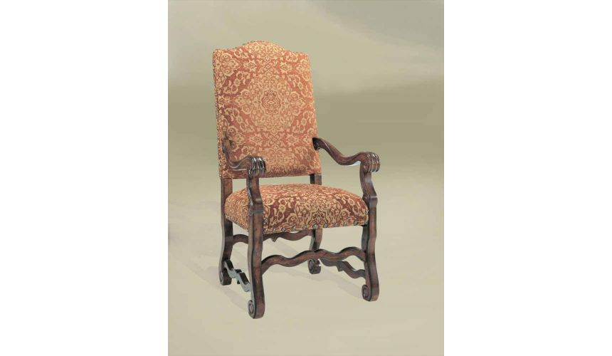 Dining Chairs Rustic Luxury Furniture Red Fabric Arm Chair