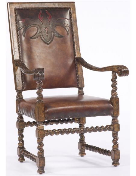 Dining Chairs Western Leather Arm Chair