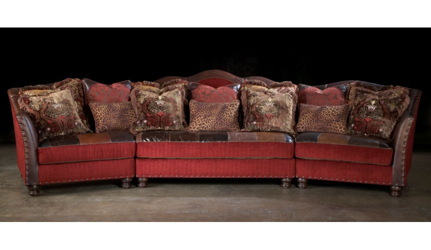 Luxury Leather & Upholstered Furniture Red sectional sofa, couch. Leather patchwork