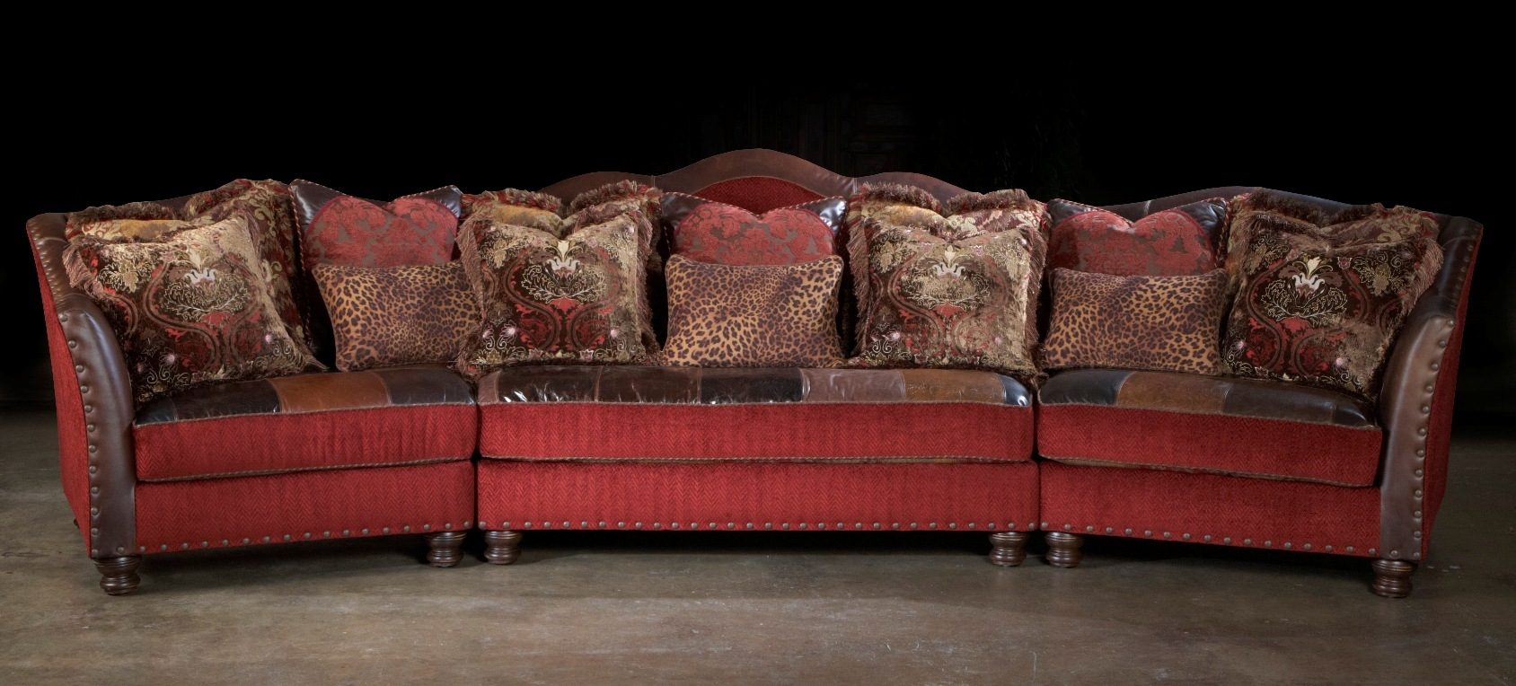 Red Sectional Sofa Couch Leather Patchwork
