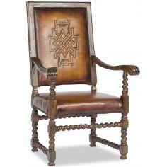 Western Leather Arm Chair-Saddle