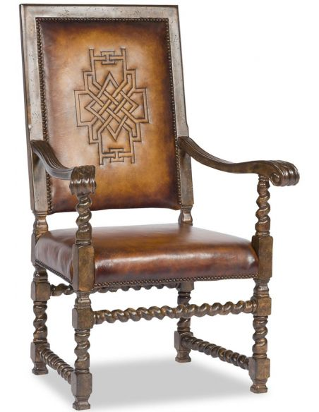 Dining Chairs Western Leather Arm Chair-Saddle