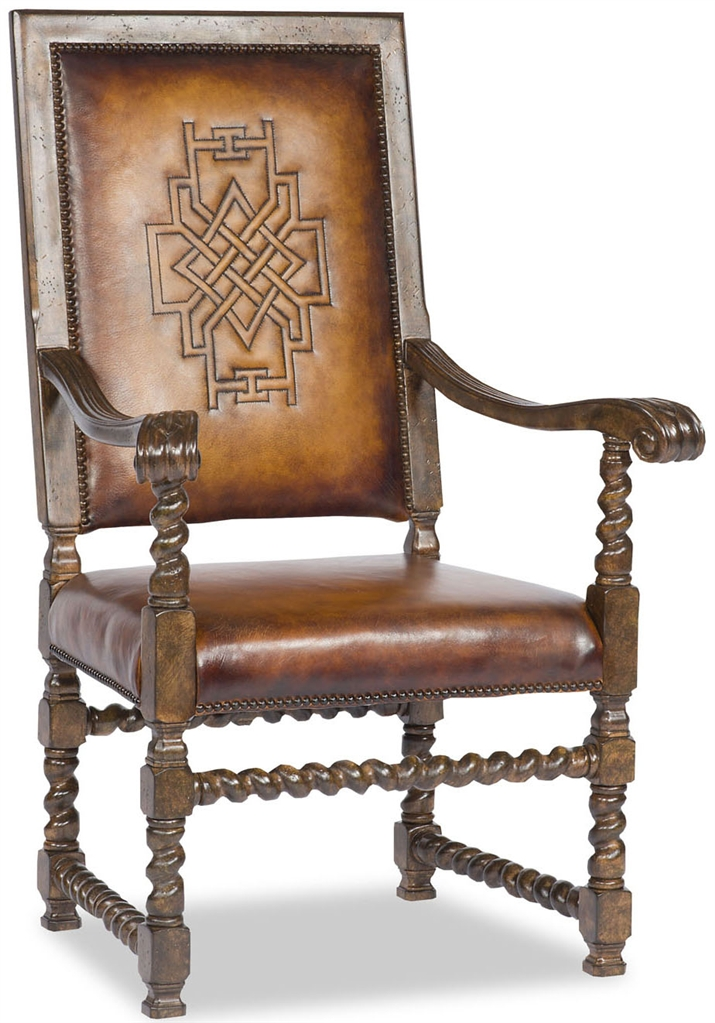 Western leather arm chair saddle for Leather dining chairs with arms