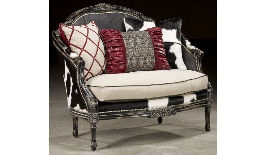 CHAIRS, Leather, Upholstered, Accent Rodeo chic settee, Luxury fine home furnishings