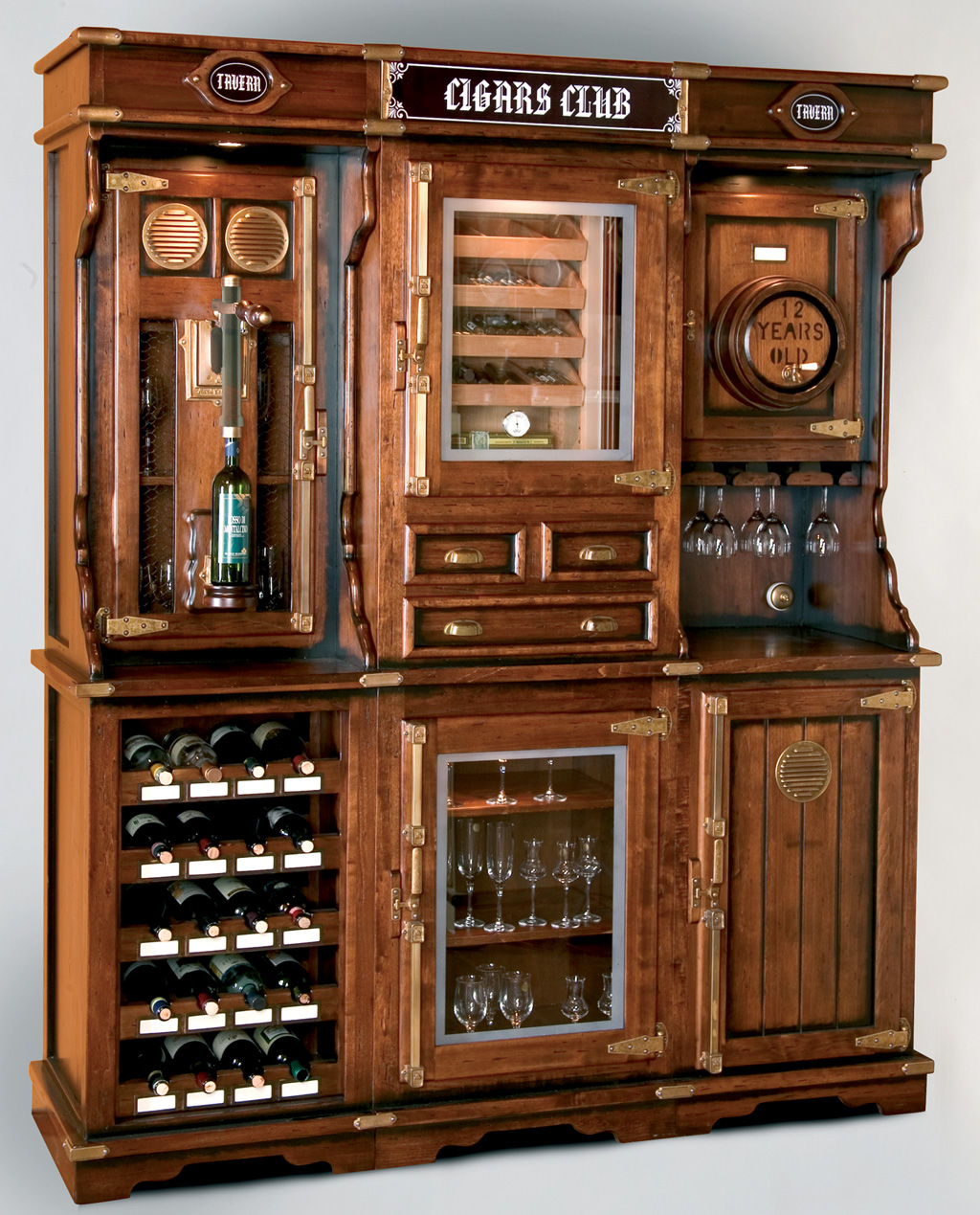 A unique cigar and wine cabinet with a humidor for up to 400 cigars. Complete with glasses, pouring-storage system, corkscrew, lighting. Solid wood and handcrafted to look old world