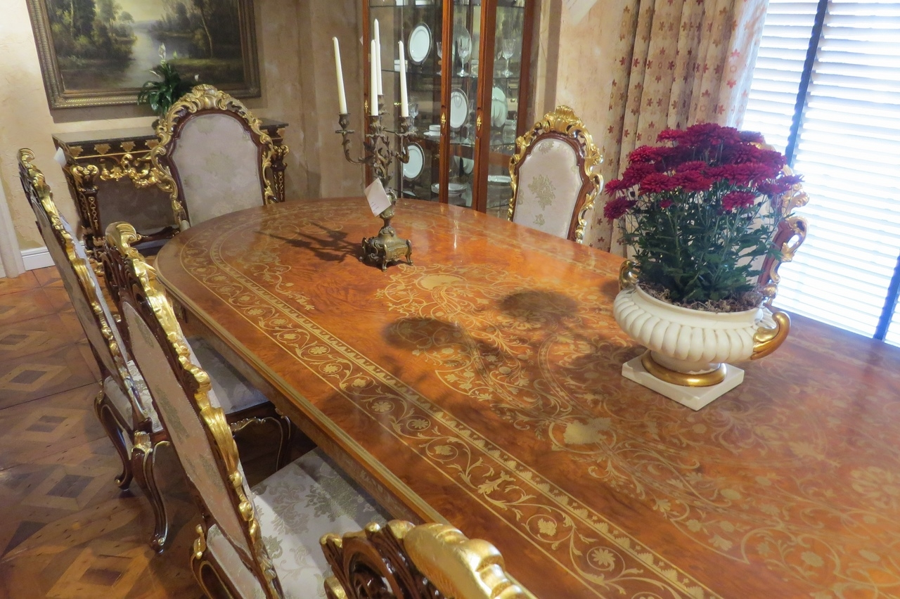 Boulle dining table brass and wood